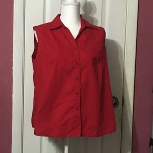 White Stag red sleeveless blouse